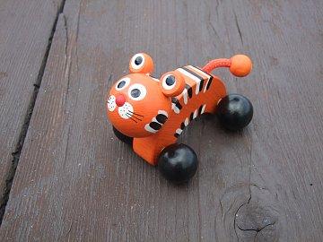 Dřevěná hračka - Tygr na kolečkách - 3