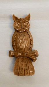 Dřevěná vyřezávaná sova na zeď  - 1