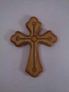 Dřevěný kříž s kuličkami 20 cm - 1