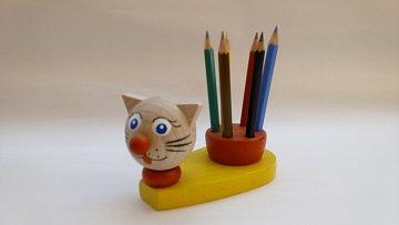 Dřevěný stojánek na pastelky - kočka - 1