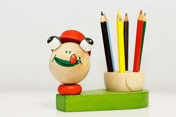 Dřevěný stojánek na pastelky - žába - 1