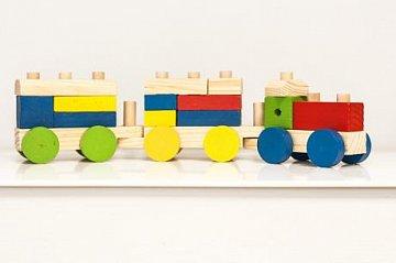 Dřevěný vláček stavebnice - 1
