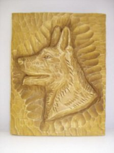 Hlava psa - dřevěná plastika 15x19 - 1