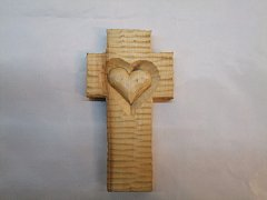 Kříž se srdcem - 14 cm