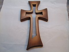 Kříž vyřezávaný v kříži - 42 cm