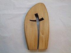 Oblá deska s 1 křížem - 20 cm