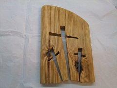 Oblá deska s 3 kříži - -30 cm