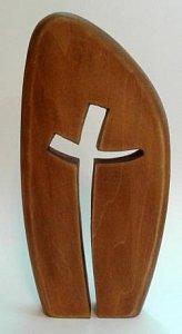 Oblá destička na poličku jeden kříž - 1