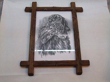 Obraz psa s bažantem za sklem - 41 cm x 32 cm - 1