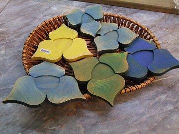 Podložka pod hrnec trojlístek barevný - 14 cm - 1