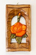 Růže orange - dřevěná plastika 11x20