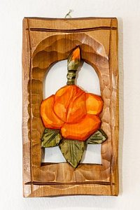 Růže orange - dřevěná plastika 11x20 - 1
