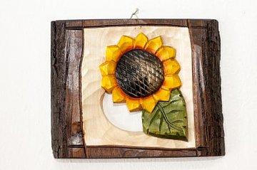 Slunečnice - dřevěná plastika 17x14 - 1
