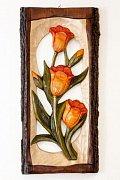 Tři tulipány - dřevěná plastika