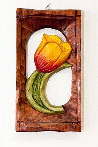 Tulipán žlutočervený - dřevěná plastika 11x21 - 1