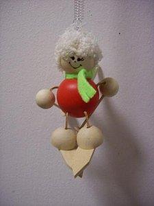 Závěsná hračka - Anděl na lyžích červený - 1