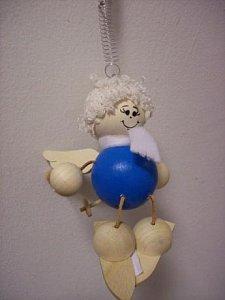 Závěsná hračka - Anděl na lyžích modrý - 1