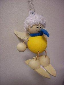 Závěsná hračka - Anděl na lyžích žlutý - 1